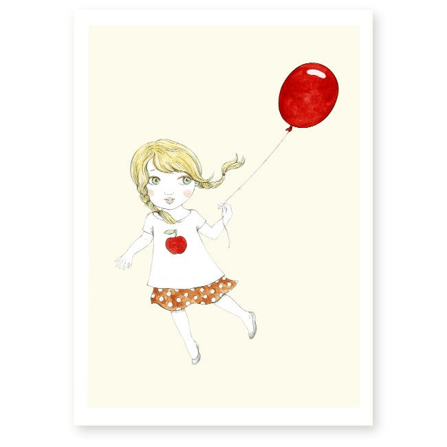 Image of Affiche A4 Fille et ballon