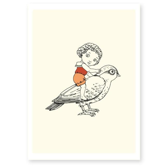 Image of Affiche A4 Fille et oiseau