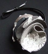 Image of Round London Grey Lace and Leather Necklace / Head Piece