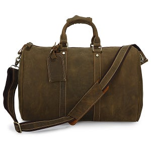 Image of Vintage Handmade Antique Crazy Horse Leather Travel Bag / Luggage / Duffle Bag / Weekend Bag (n66)