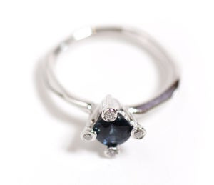 Image of 4 Prong Sapphire and Diamond Ring