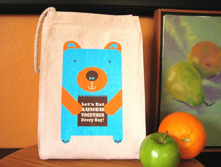 Image of Lunch Bear 100% Recycled Cotton Canvas Lunch Bag