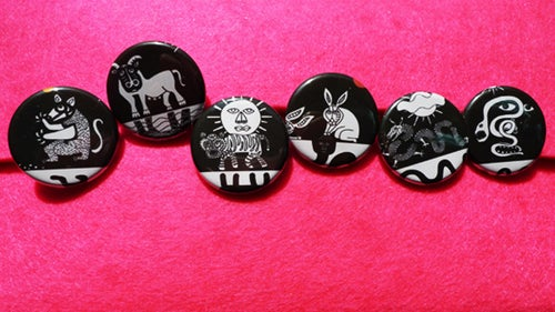 Image of chinese zodiac sign pin buttons series 1