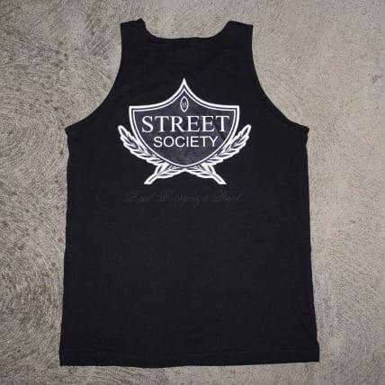 Image of THE STREET SOCIETY LOGO TANK BLACK/WHITE/ON BLACK