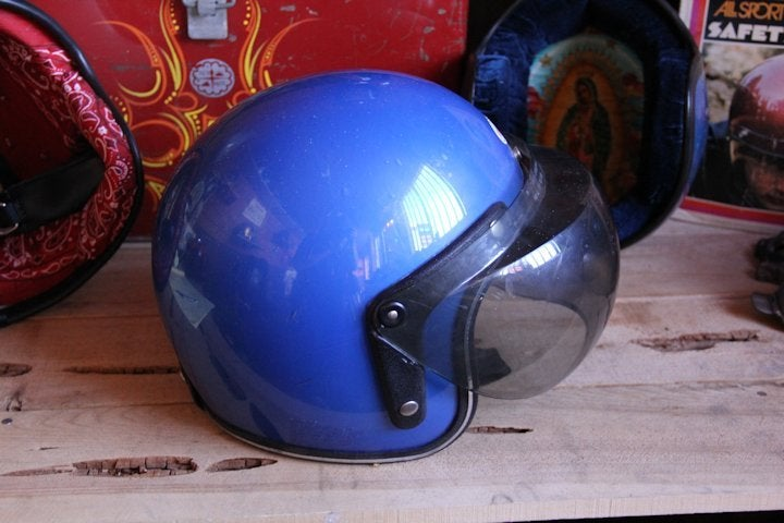 Image of DOT 3/4 Helmet Blue w/ shield