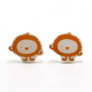 Image of Fluffy Orange Monster Earrings