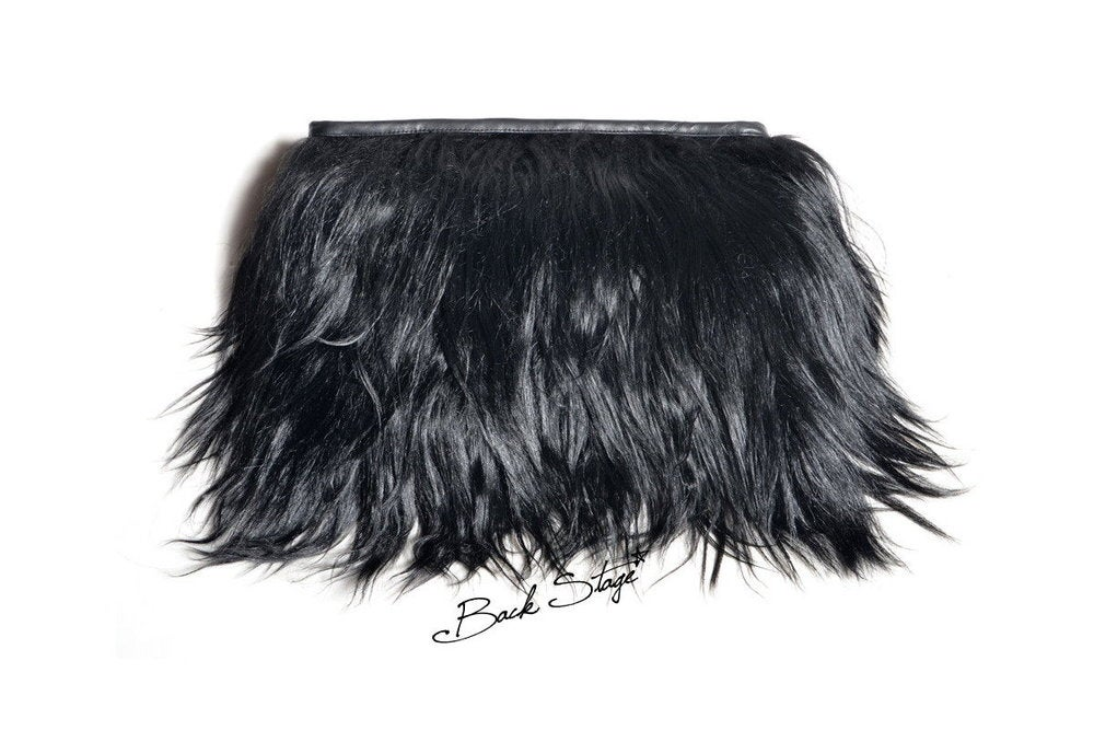dffff921103 Image of Limited Edition - Black Goat Hair + Leather Clutch Fur Furry Hand  Bag