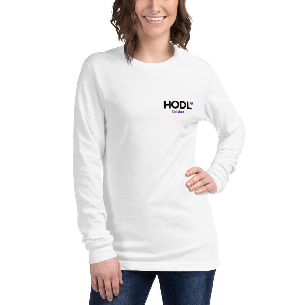 Image of HODL Unisex White Long Sleeve Tee