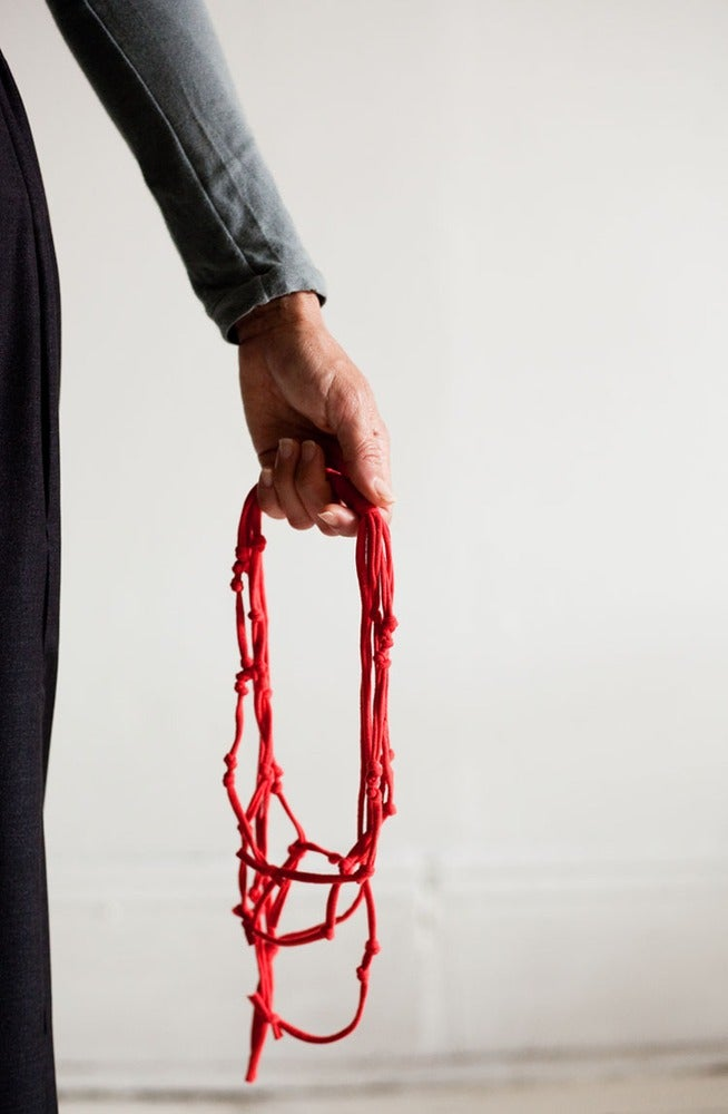 Image of Recycled T-shirt Necklace :::RED Knotted T-LACE