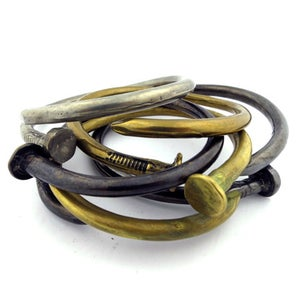 Image of THE SOLID BRASS NAIL BANGLE [bent nail bracelet]