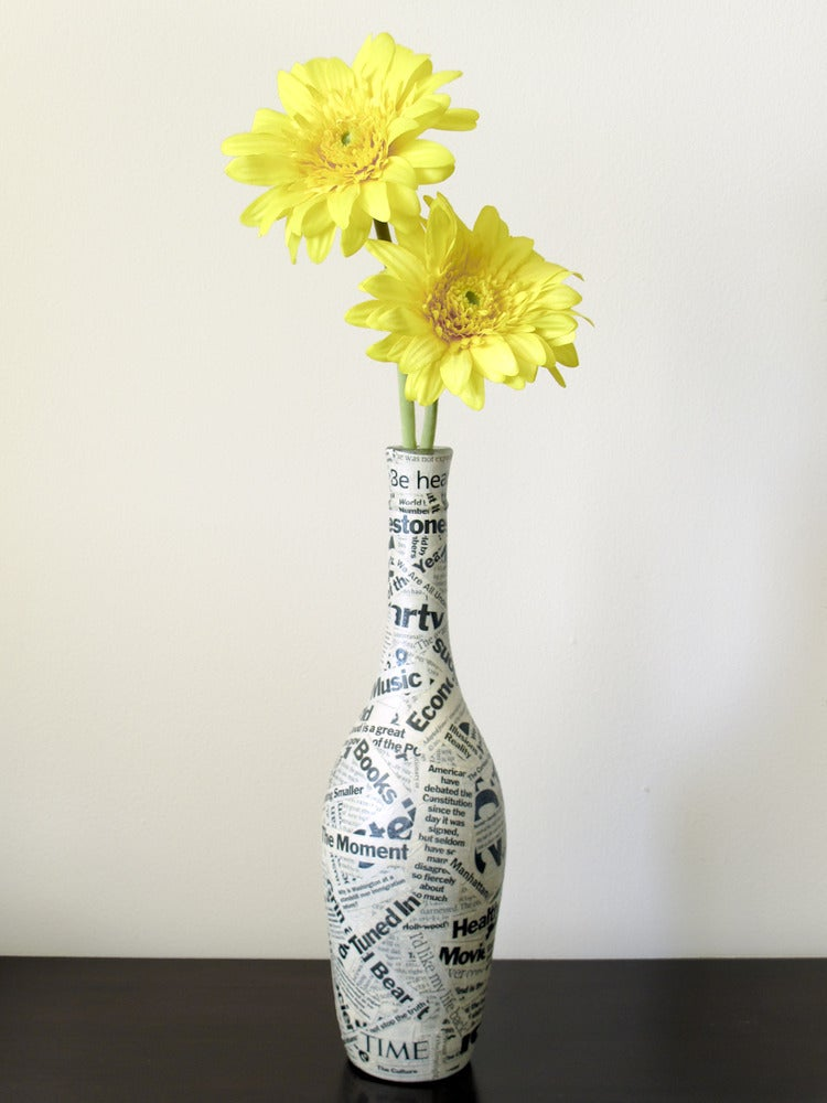 Gr3een Wine Bottle Vase Upcycled Wine Bottle Decoupaged With Time