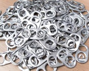 Image of 100 Soda Can Pop Tabs - Aluminum Soda Can Pull Tabs