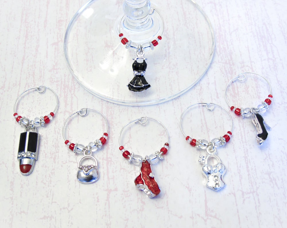 bridal shower wine charms set of 6 fashion wine glass charms