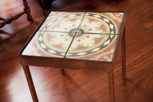 Image of Mexican hat hydraulic rescued Barcelona tile end table