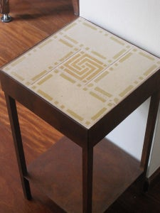 Image of Ochre and creme Version II night stand with drawer and shelf