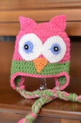 Image of OWL EARFLAP HAT - HOT PINK AND NEON GREEN - All Sizes - Prices start at $29