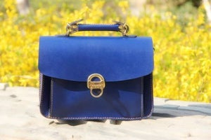 Image of VINTAGE CLASSIC BLUE - Handmade Genuine Leather Women's Small Handbag Purse Messenger Bag (m20)