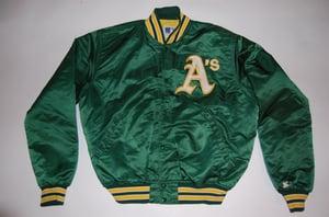 Image of Oakland A's Vintage Starter Jacket Green
