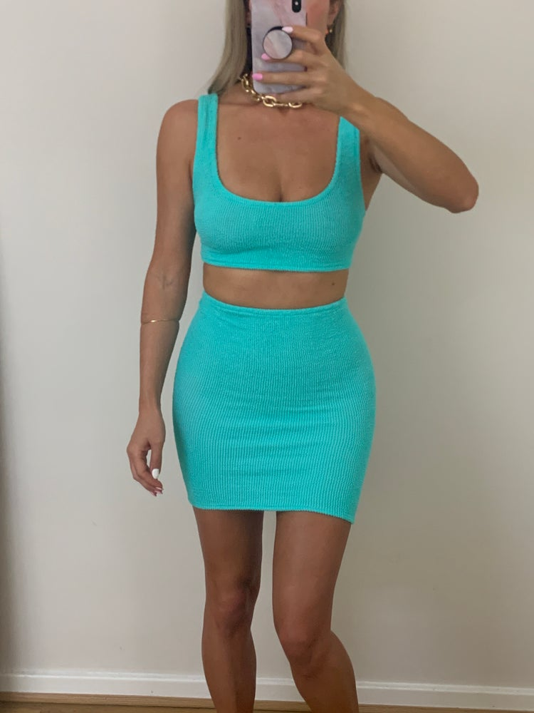 Image of Mint Mini Crop & Shorts OR Skirt Co-Ord