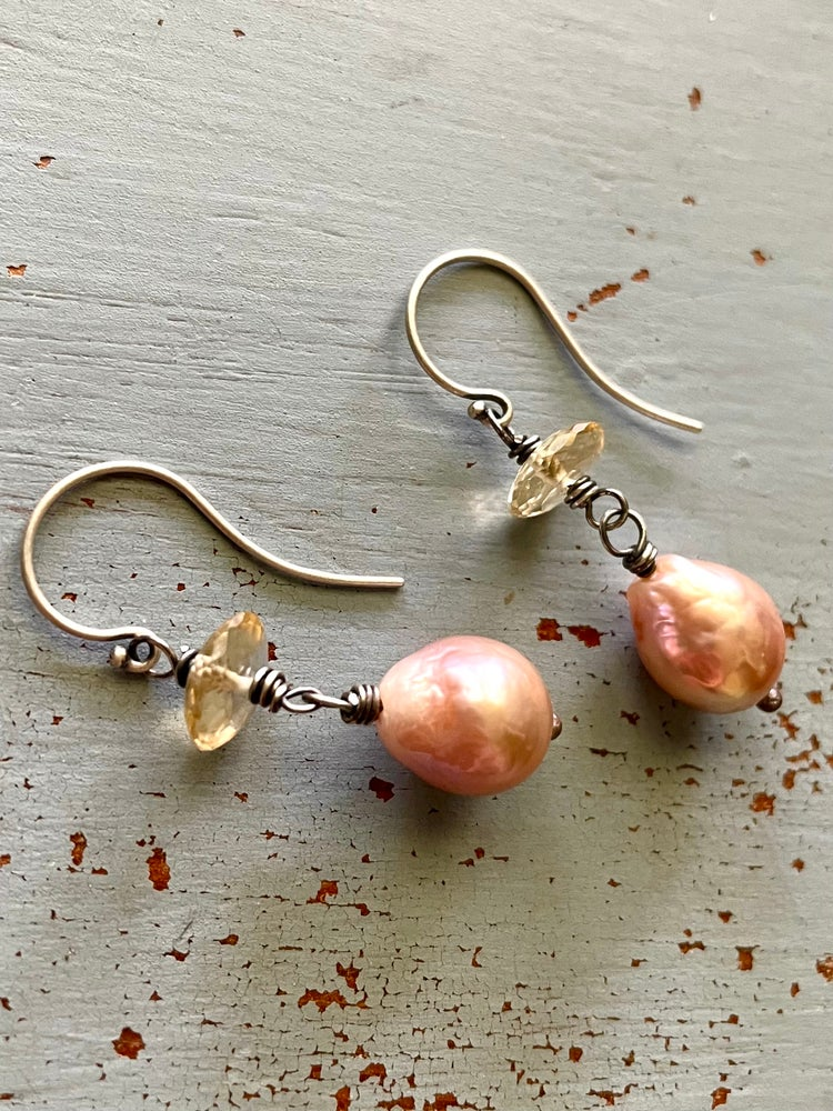 Image of pearl and citrine dangle earrings