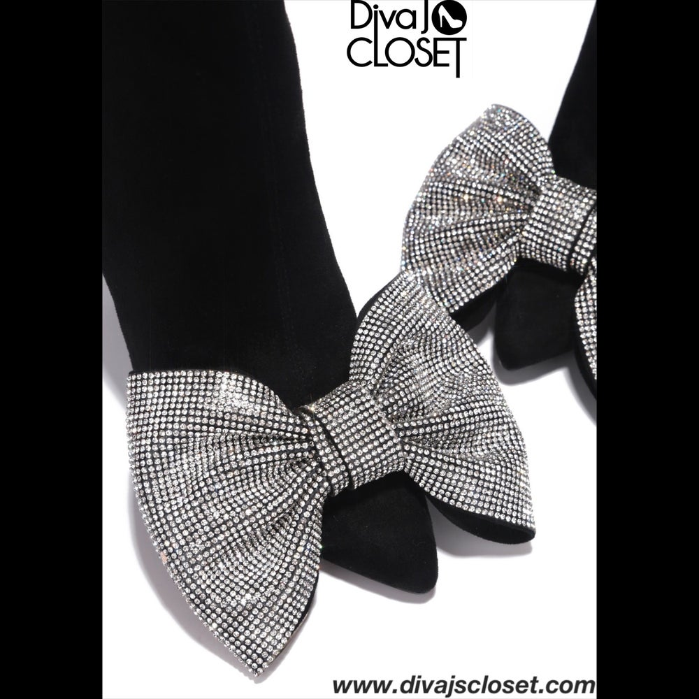 Image of Bling Bow Black Ankle Boots