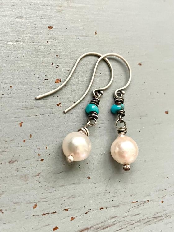 Image of Akoya pearl and Egyptian turquoise earrings