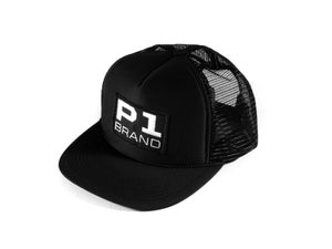 "Image of ""Badged"" Trucker Hat, Black (P1B-T0500)"
