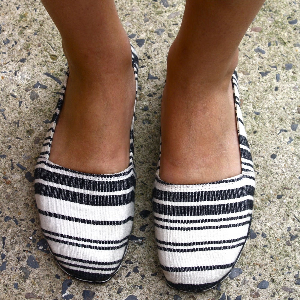 Image of Black and White Stripe Espadrille