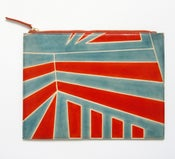 Image of DAZZLE ZIP CLUTCH blue and orange