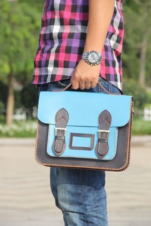 Image of Handmade Genuine Leather Satchel / Messenger Bag / Backpack - Light Blue with Ink Blue (s7)