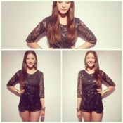 Image of Embellished sequin black mini