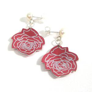 Image of Wild Rose White Pearl Stud Drop Earrings