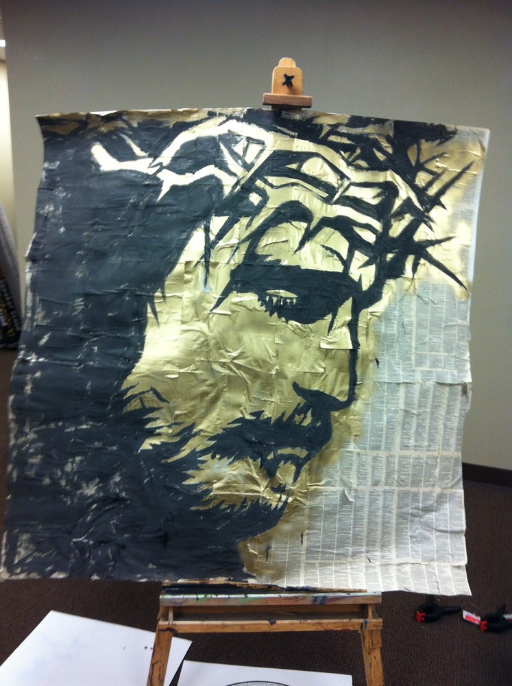 Image of hand painted (live) Jesus print on bible pages