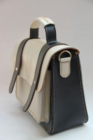 Image of Handmade Artisan Genuine Leather Women's Handbag / Satchel / Messenger Bag - Black with White (m56)