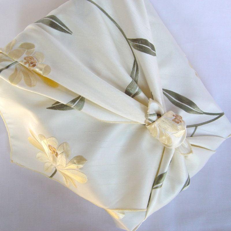 Image of myfuroshiki cream floral faux silk reusable gift wrap