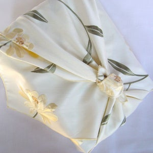 Image of myfuroshiki cream floral faux silk reusable gift wrap