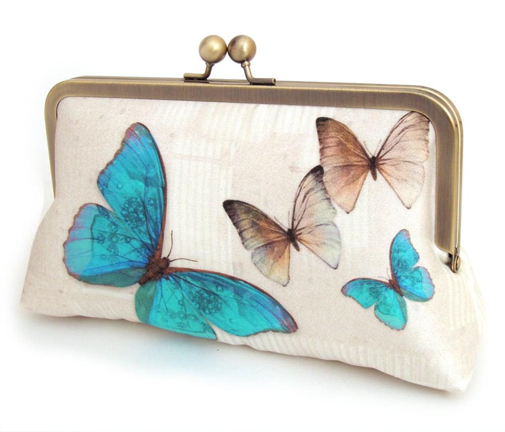 Image of Blue butterflies printed silk clutch bag