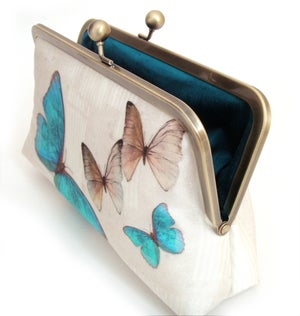 Image of Blue butterflies silk clutch bag