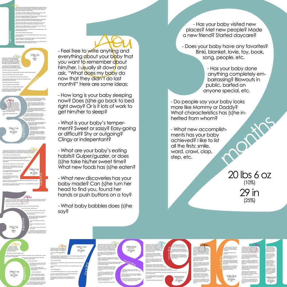 Tiffkeetch Monthly Milestone Templates 1st Year
