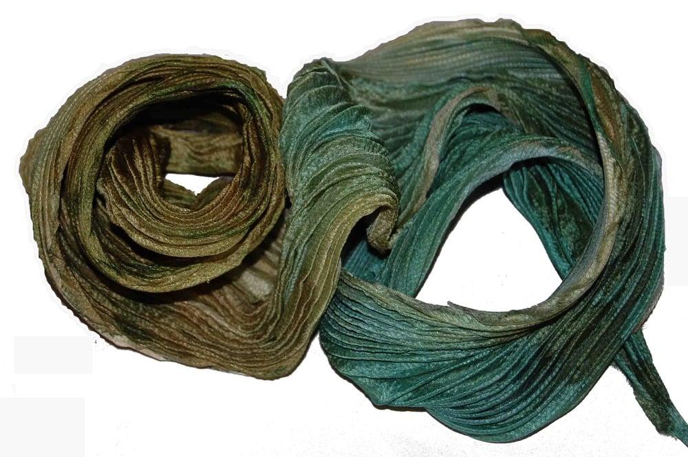 Image of Moss Green Leaves Silk Shibori Scarf - Handpainted Silk Shibori