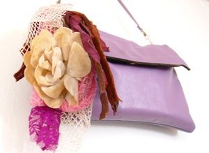 Image of Lilac & Plum Purple Vintage Clutch Purse w. handcrafted flower adornment