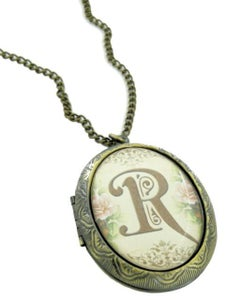 Image of Floral Intitial Locket all letters available