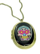 Image of Sugar Skull Locket Tattoo Necklace Purple