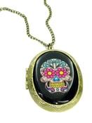 Image of Sugar Skull Locket Tattoo Necklace Purple