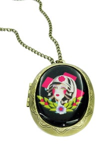 Image of Rockabilly Nurse Locket Tattoo