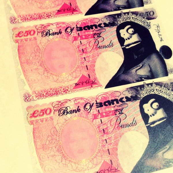 Image of BANKSY STERLING NOTES Original by Tevés