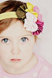 Image of Matilda Jane Inspired Pinwheel Headband in Purple, Pink, Army Green and Yellow