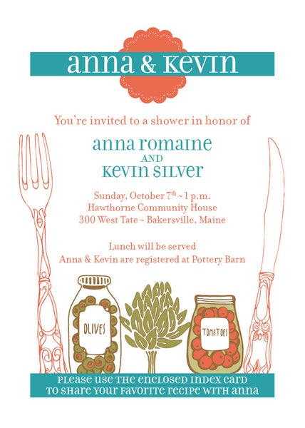Image of Recipe Shower Invitation with a Vegetable Theme