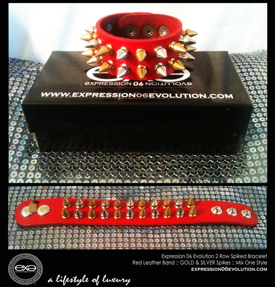 Image of EXPRESSION 06 EVOLUTION /  SPIKED BRACELET / 2 ROW SPIKES.