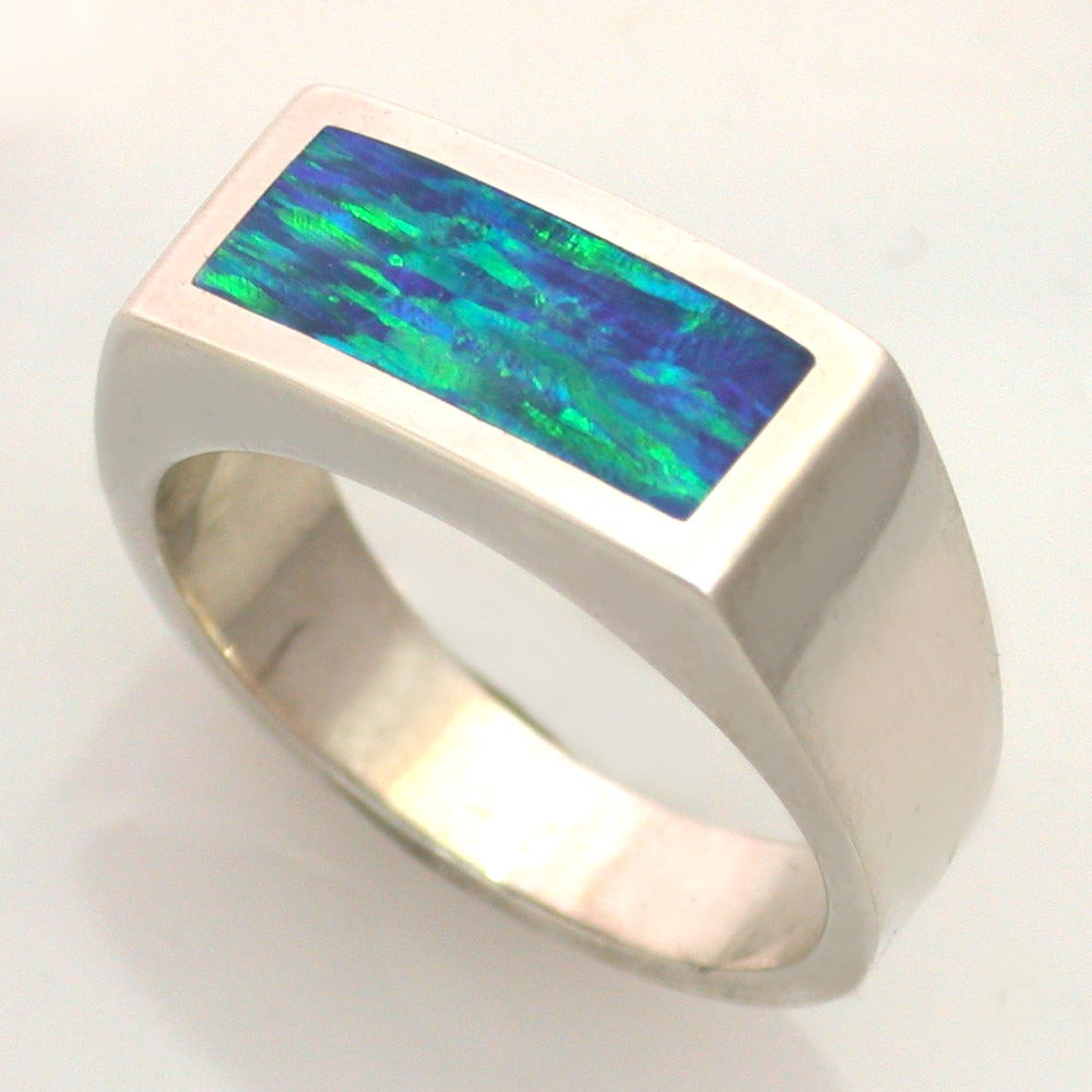Doug Peterson Jewelers Mens Opal Ring in Silver